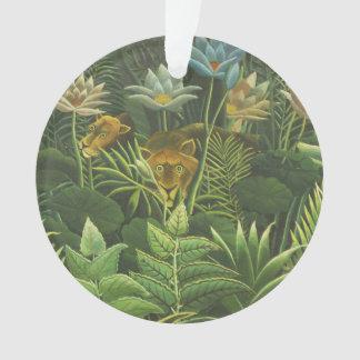 Peinture tropicale d'impression d'art de lion de