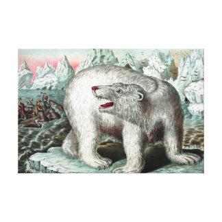 Peinture vintage d'ours blanc toiles