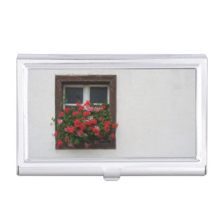 Pélargonium rouge et rose porte-cartes de visite