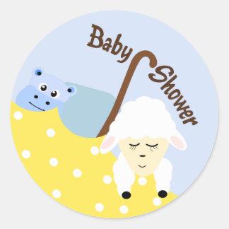 Peluches hippopotame et autocollant de baby shower