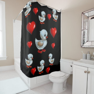 Penche le rideau en douche de coeur