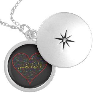 Pendentif argenté : 99 noms d'Allah (arabe)
