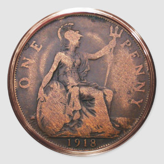 Penny britannique 1918 (paquet de 6/20) adhésifs ronds