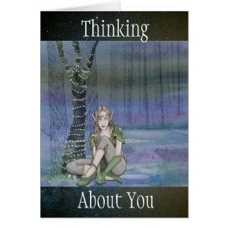 """""""Pensant à vous"""" carte lunatique de conte de fées"""