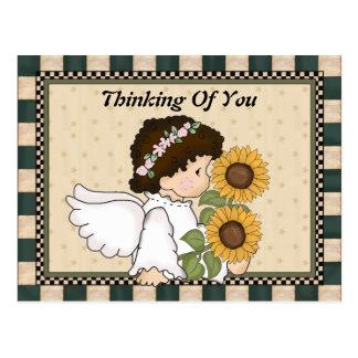 Pensée à vous carte postale d'ange