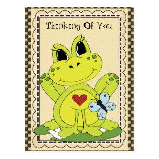 Pensée à vous carte postale de grenouille de pays