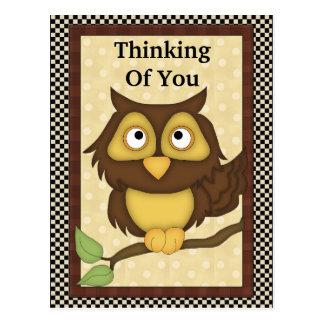 Pensée à vous carte postale de hibou