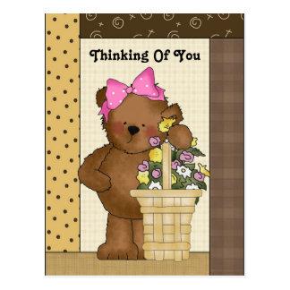 Pensée à vous carte postale d'ours de pays