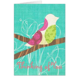 Pensée à vous collage d'oiseau chanteur de carte