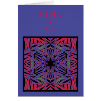 Pensée abstraite de bleu rouge à vous modèle de carte de vœux
