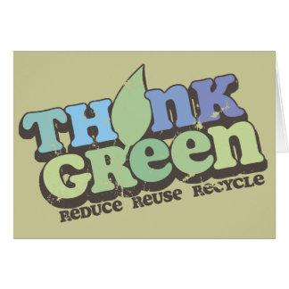 Pensez la carte de voeux verte de jour de la terre