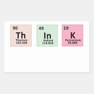 Pensez - la chimie sticker rectangulaire