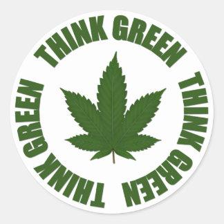 Pensez le vert sticker rond