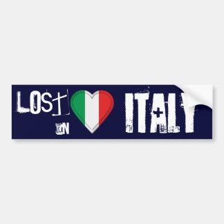 Perdu au coeur italien de drapeau de l'Italie Autocollant De Voiture