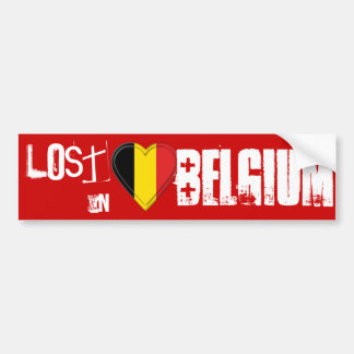 Perdu en Belgique - coeur belge de drapeau Autocollant De Voiture