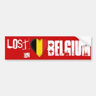Perdu en Belgique - coeur belge de drapeau Adhésifs Pour Voiture