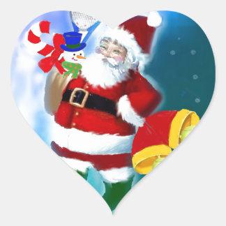 Père Noël avec la raquette et les cloches de Sticker Cœur