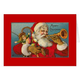 Père Noël AVEC la TROMPETTE Carte De Vœux