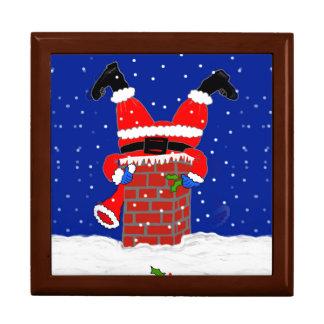 Père Noël dans la cheminée sur la boîte-cadeau Coffret Cadeau