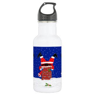 Père Noël dans la cheminée sur la bouteille d'eau