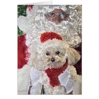 Père Noël et carte de caniche