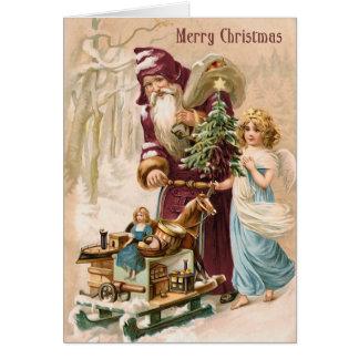 Père Noël et carte de Noël vintage d'ange