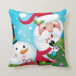 Père Noël et coussin de bonhomme de neige
