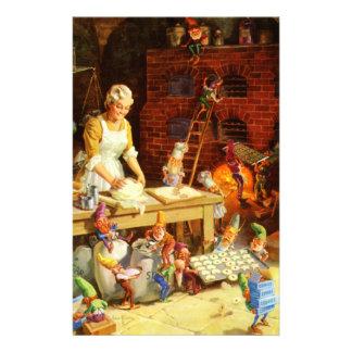 Père Noël et Mme Claus et les elfes font des biscu Papeterie