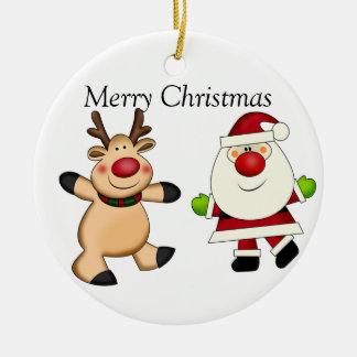Père Noël et renne Ornement Rond En Céramique