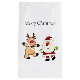 Père Noël et renne Petit Sac Cadeau