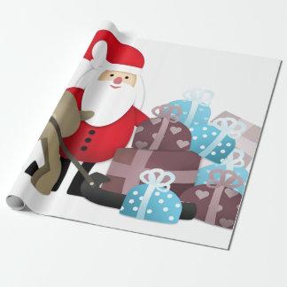 Père Noël et son renne avec des cadeaux Papier Cadeau