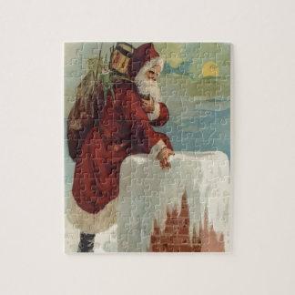 Père Noël faisant un pas dans une cheminée Puzzle