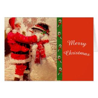 Père Noël mignon et carte de voeux de Noël de