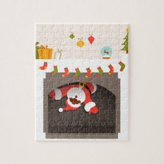 père Noël noir coincé en cheminée Puzzle