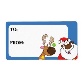Père Noël noir et le renne ont imprimé l'étiquette Étiquette D'expédition