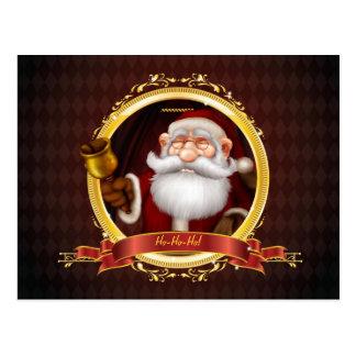 Père Noël sonnant la carte postale de Bell d'or