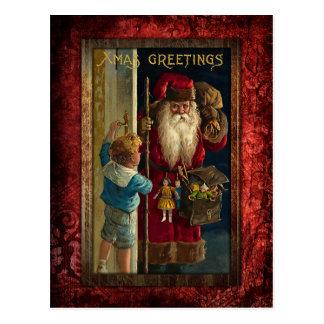 Père Noël vintage apportant des jouets Carte Postale