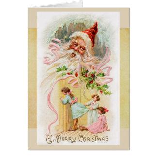 Père Noël vintage sur la carte de matin de Noël