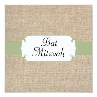 Peridot vintage et bat mitzvah beige de toile de carton d'invitation  13,33 cm
