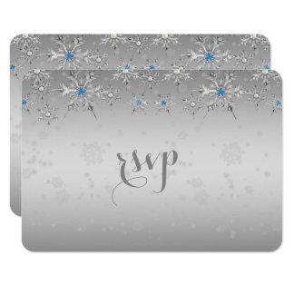 Perle en cristal de flocons de neige argentés carton d'invitation 8,89 cm x 12,70 cm