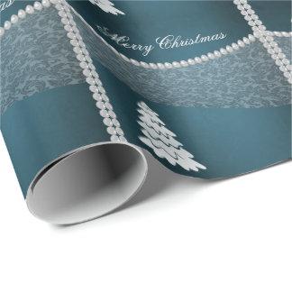 Perle joyeuse adorable de damassé d'hiver d'arbre papier cadeau
