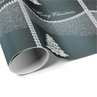 Perle joyeuse adorable de damassé d'hiver d'arbre papier cadeau noël