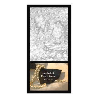 Perles blanches noires de cravate d'arc épousant carte avec photo