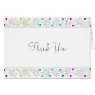 Perles de carte de remerciements et arc-en-ciel de