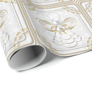 Perles et or - ange métallique de Noël de joie Papier Cadeau