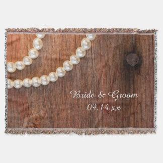 Perles rustiques et mariage campagnard en bois de couvre pied de lit