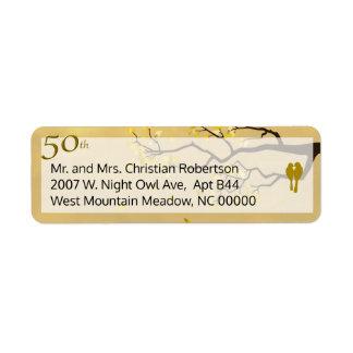 Perruches d'or d'anniversaire étiquette d'adresse retour