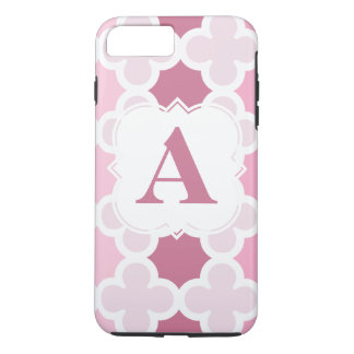 Personaliseer Retro Roze Patroon Quatrefoil van iPhone 8 Plus / 7 Plus Hoesje