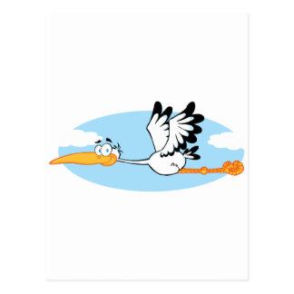 Personnage de dessin animé de mascotte de cigogne cartes postales