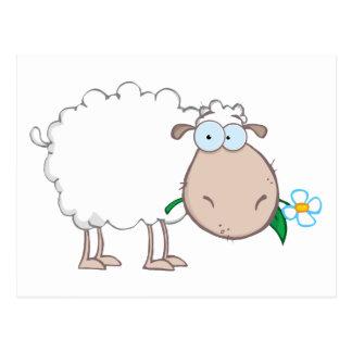 Personnage de dessin animé de moutons blancs carte postale